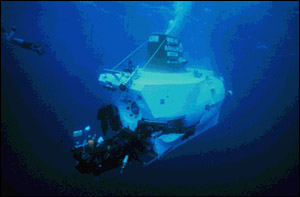 Dive with the scientists aboard the deep submersible Alvin. Image from OAR/National Undersea Research Program (NURP); Woods Hole Oceanographic Institution.